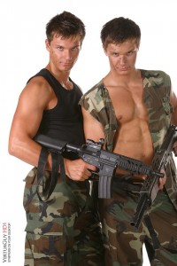Bel Ami twins military striptease