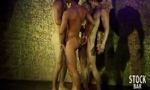 three gay strippers under shower