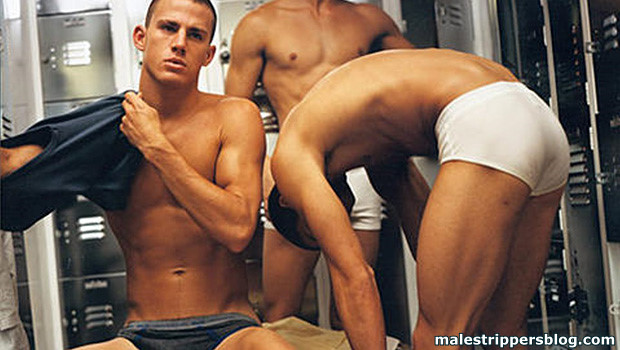 nude Channing Tatum in locker room