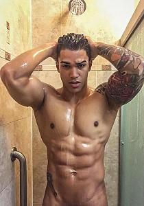 naked dancer showering