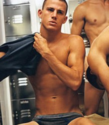 Channing in locker room